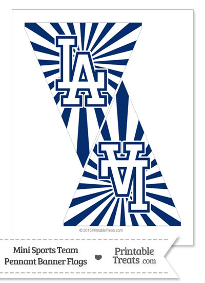 Los Angeles Dodgers Mini Pennant Banner Flags from PrintableTreats.com