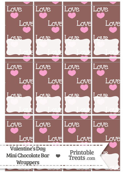Love Mini Chocolate Bar Wrappers from PrintableTreats.com