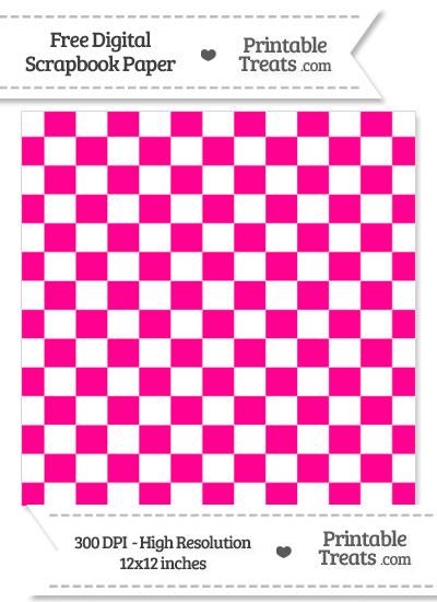 Magenta Checkered Pattern Digital Paper from PrintableTreats.com