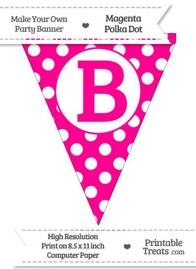 Magenta Polka Dot Pennant Flag Capital Letter B from PrintableTreats.com