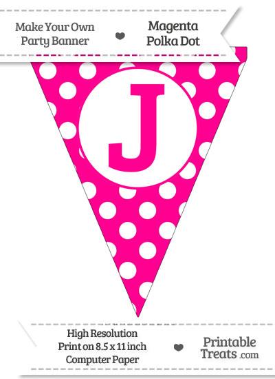 Magenta Polka Dot Pennant Flag Capital Letter J from PrintableTreats.com
