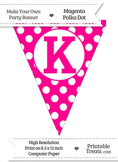 Magenta Polka Dot Pennant Flag Capital Letter K from PrintableTreats.com