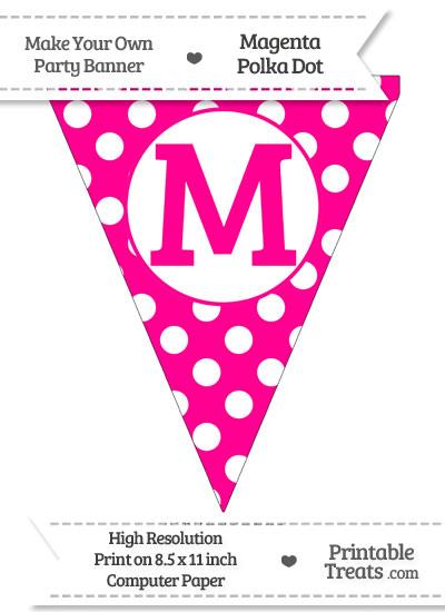 Magenta Polka Dot Pennant Flag Capital Letter M from PrintableTreats.com