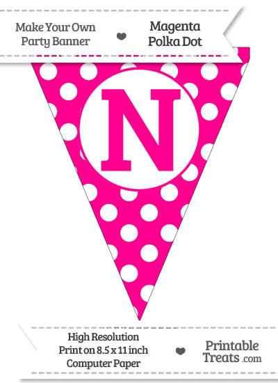 Magenta Polka Dot Pennant Flag Capital Letter N from PrintableTreats.com