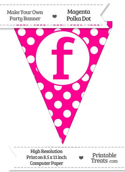 Magenta Polka Dot Pennant Flag Lowercase Letter F from PrintableTreats.com