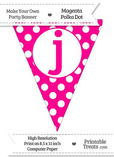 Magenta Polka Dot Pennant Flag Lowercase Letter J from PrintableTreats.com