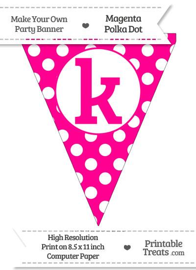 Magenta Polka Dot Pennant Flag Lowercase Letter K from PrintableTreats.com