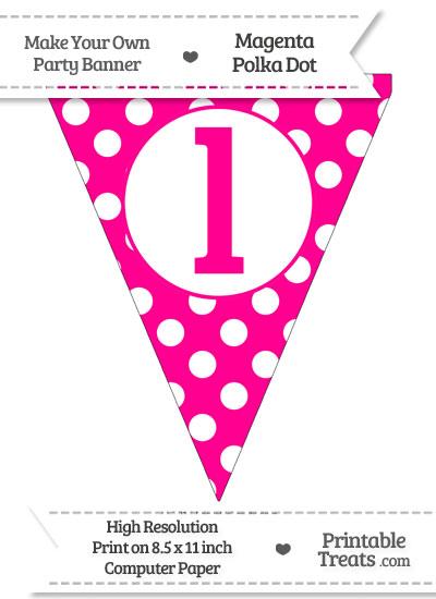 Magenta Polka Dot Pennant Flag Lowercase Letter L from PrintableTreats.com