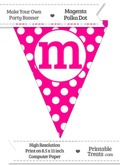 Magenta Polka Dot Pennant Flag Lowercase Letter M from PrintableTreats.com