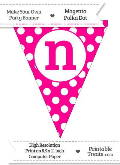 Magenta Polka Dot Pennant Flag Lowercase Letter N from PrintableTreats.com