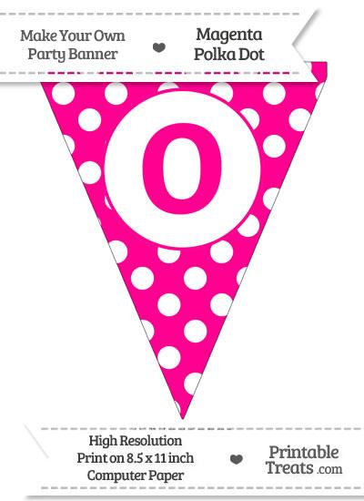 Magenta Polka Dot Pennant Flag Lowercase Letter O from PrintableTreats.com