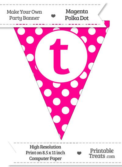 Magenta Polka Dot Pennant Flag Lowercase Letter T from PrintableTreats.com