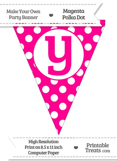 Magenta Polka Dot Pennant Flag Lowercase Letter Y from PrintableTreats.com