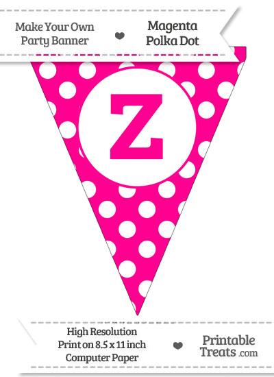 Magenta Polka Dot Pennant Flag Lowercase Letter Z from PrintableTreats.com