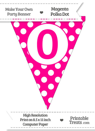 Magenta Polka Dot Pennant Flag Number 0 from PrintableTreats.com