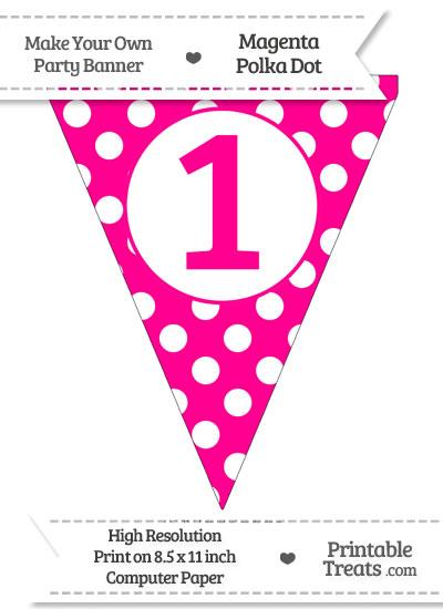 Magenta Polka Dot Pennant Flag Number 1 from PrintableTreats.com