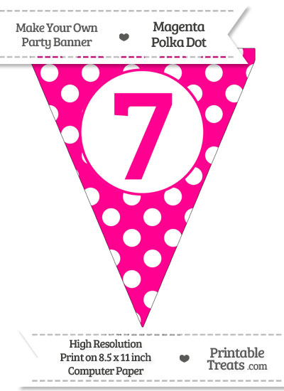 Magenta Polka Dot Pennant Flag Number 7 from PrintableTreats.com