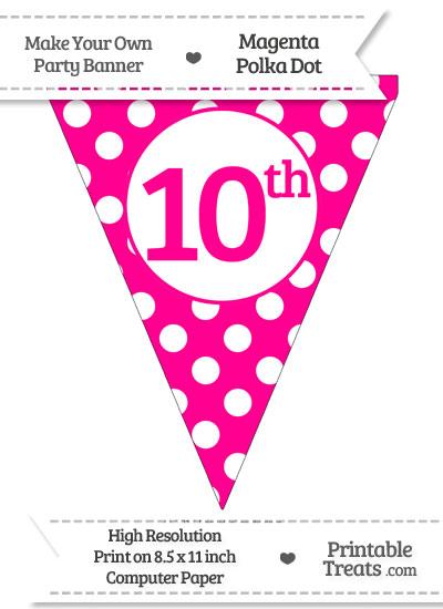 Magenta Polka Dot Pennant Flag Ordinal Number 10th from PrintableTreats.com
