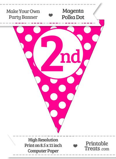 Magenta Polka Dot Pennant Flag Ordinal Number 2nd from PrintableTreats.com