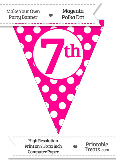 Magenta Polka Dot Pennant Flag Ordinal Number 7th from PrintableTreats.com