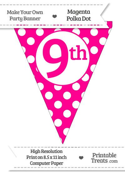 Magenta Polka Dot Pennant Flag Ordinal Number 9th from PrintableTreats.com