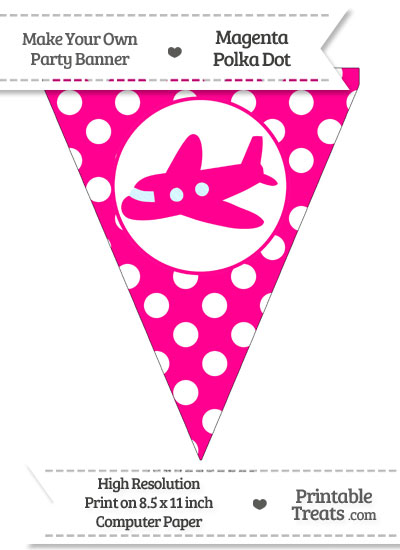 Magenta Polka Dot Pennant Flag With Airplane Facing Left from PrintableTreats.com
