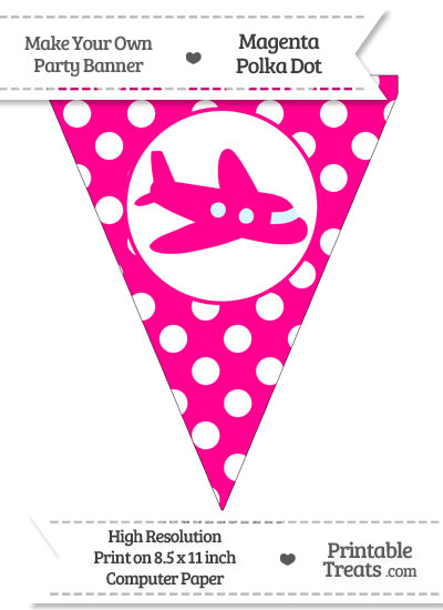 Magenta Polka Dot Pennant Flag With Airplane Facing Right from PrintableTreats.com