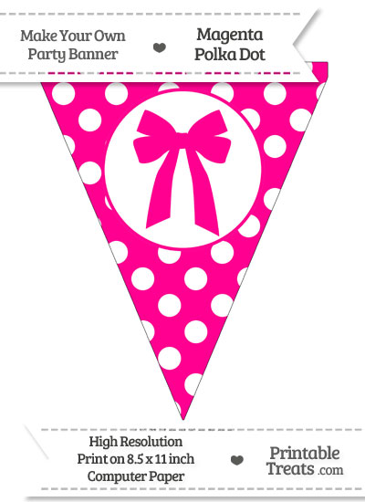 Magenta Polka Dot Pennant Flag with Bow from PrintableTreats.com