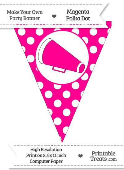 Magenta Polka Dot Pennant Flag with Cheer Megaphone Facing Left from PrintableTreats.com