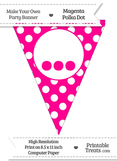Magenta Polka Dot Pennant Flag with Ellipses from PrintableTreats.com
