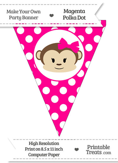 Magenta Polka Dot Pennant Flag with Girl Monkey from PrintableTreats.com