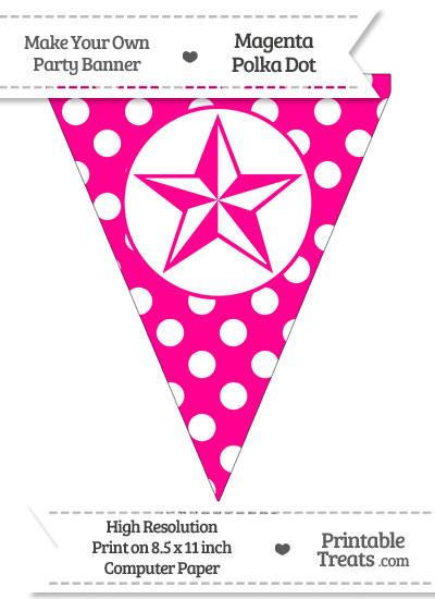 Magenta Polka Dot Pennant Flag with Nautical Star from PrintableTreats.com