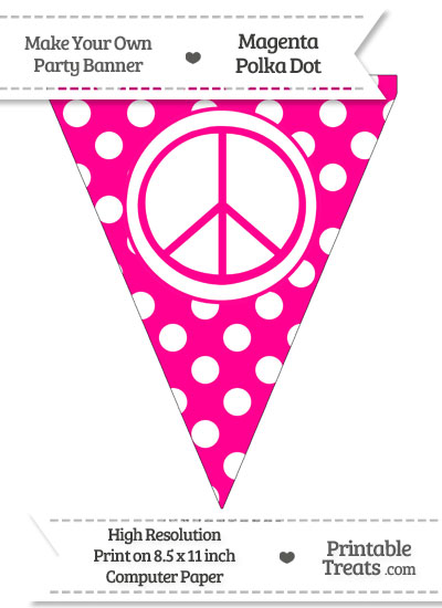Magenta Polka Dot Pennant Flag with Peace Sign from PrintableTreats.com