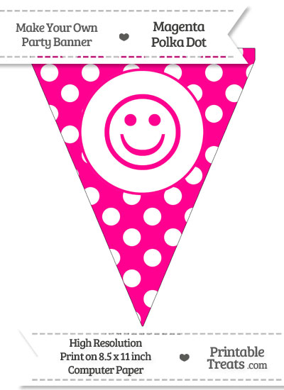 Magenta Polka Dot Pennant Flag with Smiley Face from PrintableTreats.com