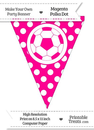 Magenta Polka Dot Pennant Flag with Soccer Ball from PrintableTreats.com