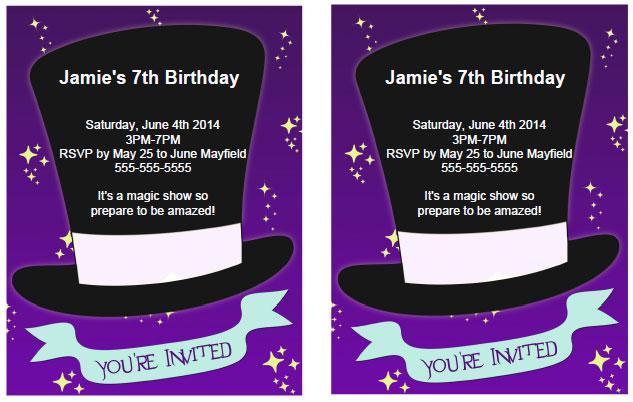 magician birthday party invitations