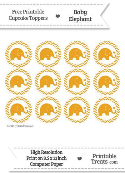 Marigold Baby Elephant Chevron Cupcake Toppers from PrintableTreats.com