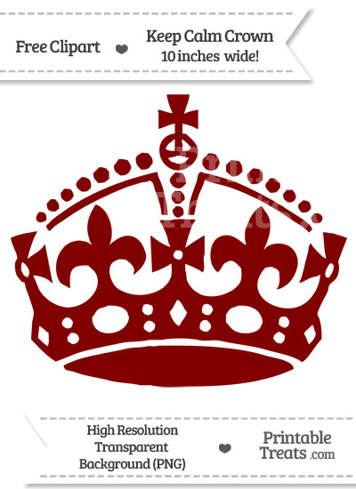 Maroon Keep Calm Crown Clipart from PrintableTreats.com