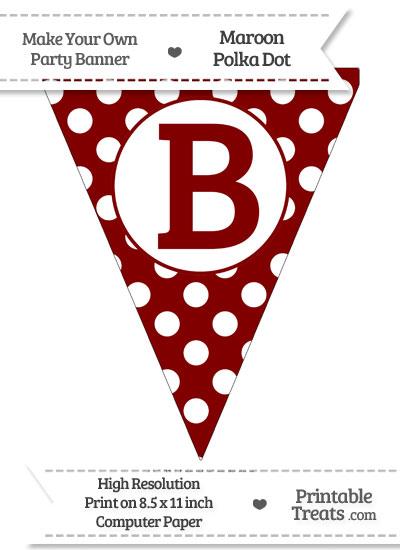 Maroon Polka Dot Pennant Flag Capital Letter B from PrintableTreats.com