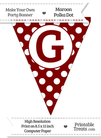 Maroon Polka Dot Pennant Flag Capital Letter G from PrintableTreats.com