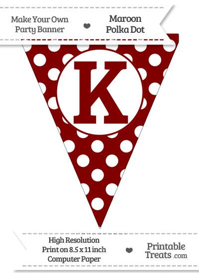 Maroon Polka Dot Pennant Flag Capital Letter K from PrintableTreats.com