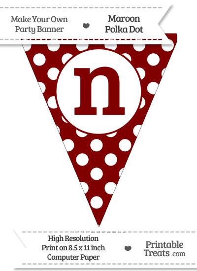Maroon Polka Dot Pennant Flag Lowercase Letter N from PrintableTreats.com