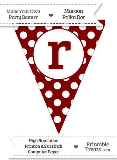 Maroon Polka Dot Pennant Flag Lowercase Letter R from PrintableTreats.com