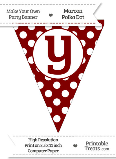 Maroon Polka Dot Pennant Flag Lowercase Letter Y from PrintableTreats.com