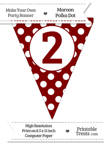 Maroon Polka Dot Pennant Flag Number 2 from PrintableTreats.com