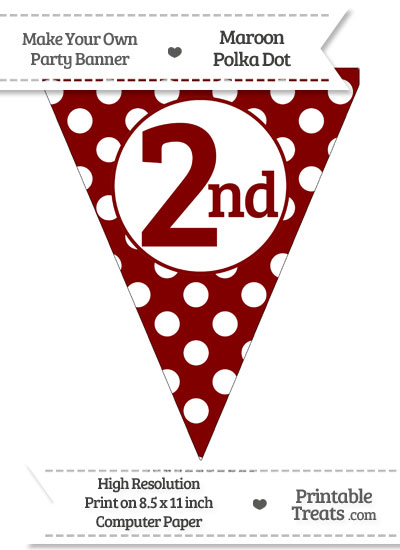 Maroon Polka Dot Pennant Flag Ordinal Number 2nd from PrintableTreats.com