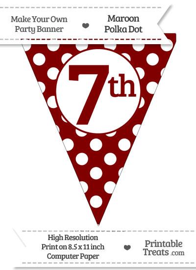 Maroon Polka Dot Pennant Flag Ordinal Number 7th from PrintableTreats.com