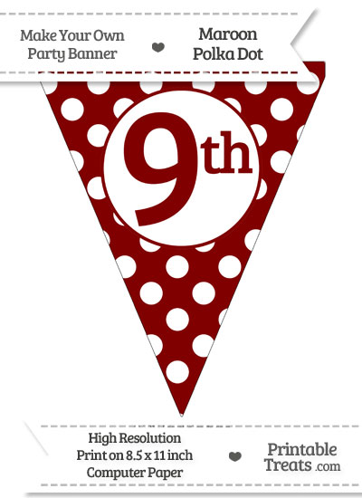 Maroon Polka Dot Pennant Flag Ordinal Number 9th from PrintableTreats.com