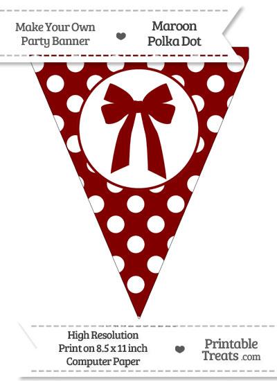 Maroon Polka Dot Pennant Flag with Bow from PrintableTreats.com