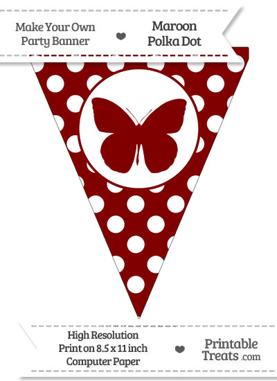 Maroon Polka Dot Pennant Flag with Butterfly from PrintableTreats.com